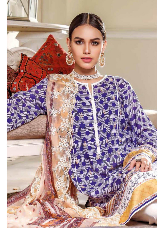 Gul Ahmed Embroidered Lawn Suits Unstitched 3 Piece GA21S FS 46 - Summer Collection