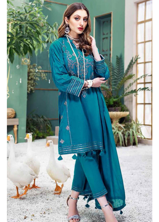 Gul Ahmed Embroidered Lawn Suits Unstitched 3 Piece GA21S FS 55 - Summer Collection