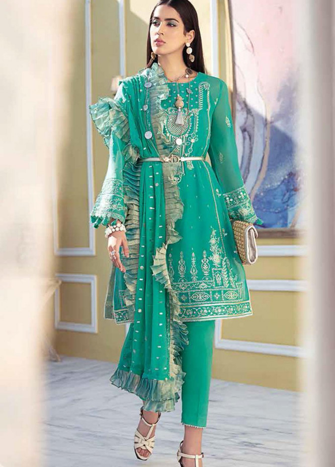 Gul Ahmed Embroidered Chiffon Suits Unstitched 3 Piece GA21S LE 34 - Summer Collection