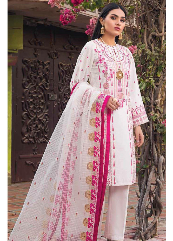 Gul Ahmed Embroidered Lawn Suits Unstitched 3 Piece GA21S PM 402 - Summer Collection