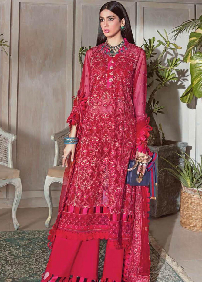 Gul Ahmed Embroidered Net Suits Unstitched 3 Piece GA21S SP 15 - Summer Collection
