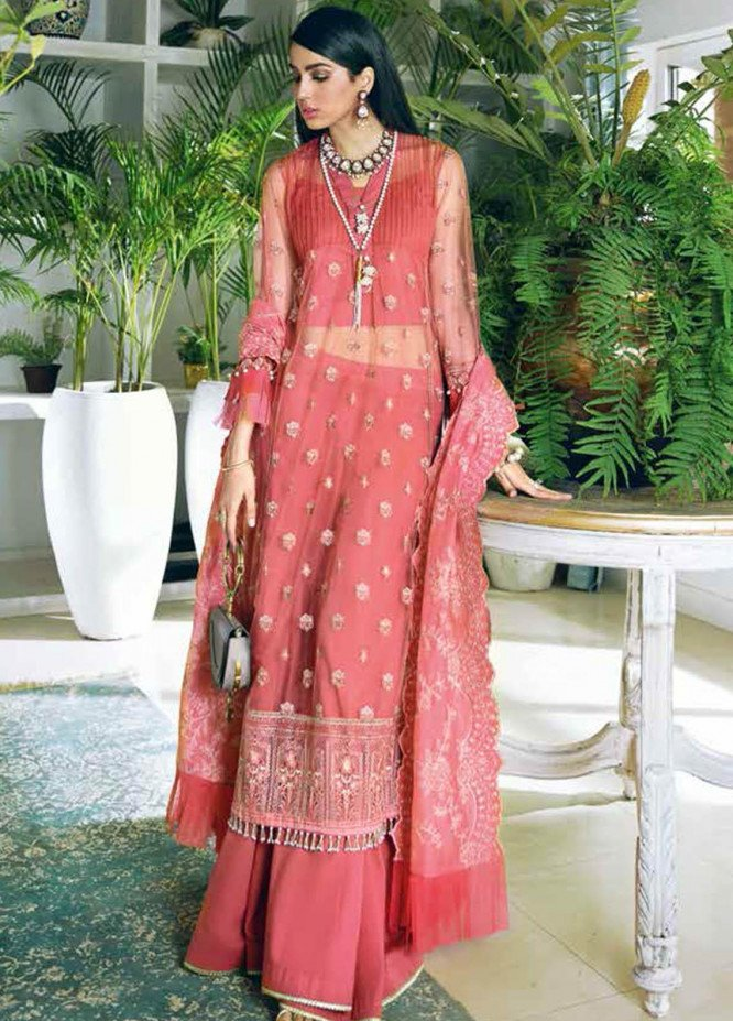 Gul Ahmed Embroidered Net Suits Unstitched 3 Piece GA21S SP 16 - Summer Collection