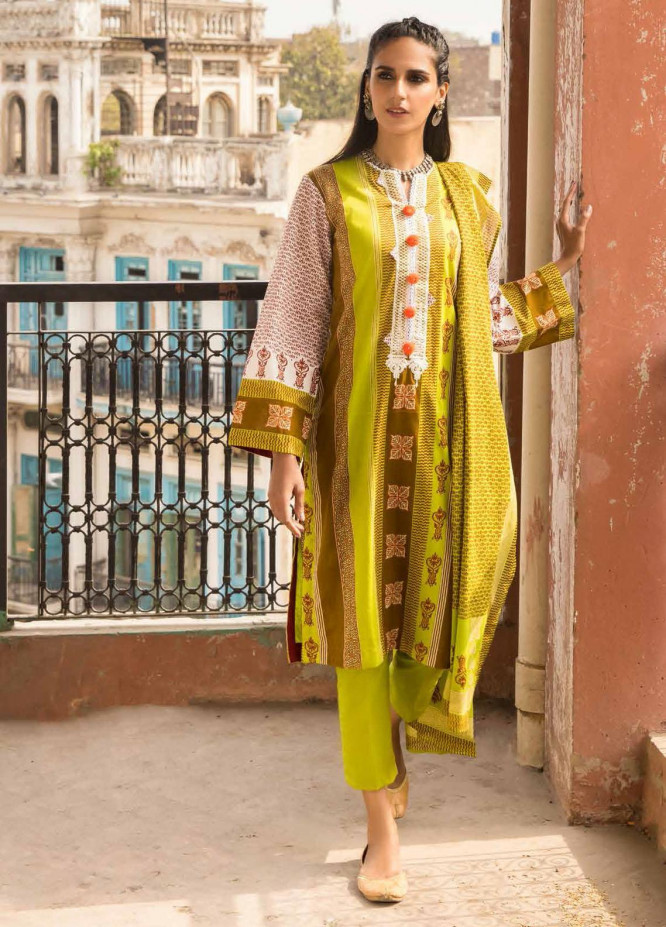 Gul Ahmed Embroidered Lawn Suits Unstitched 2 Piece GA21LL TL358 - Summer Collection