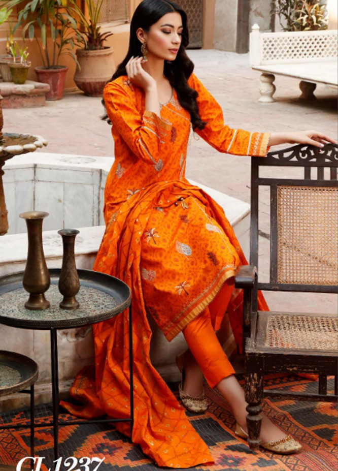 Sunehri By Gul Ahmed Embroidered Lawn Suits Unstitched 3 Piece GA21SL CL-1237 - Summer Collection