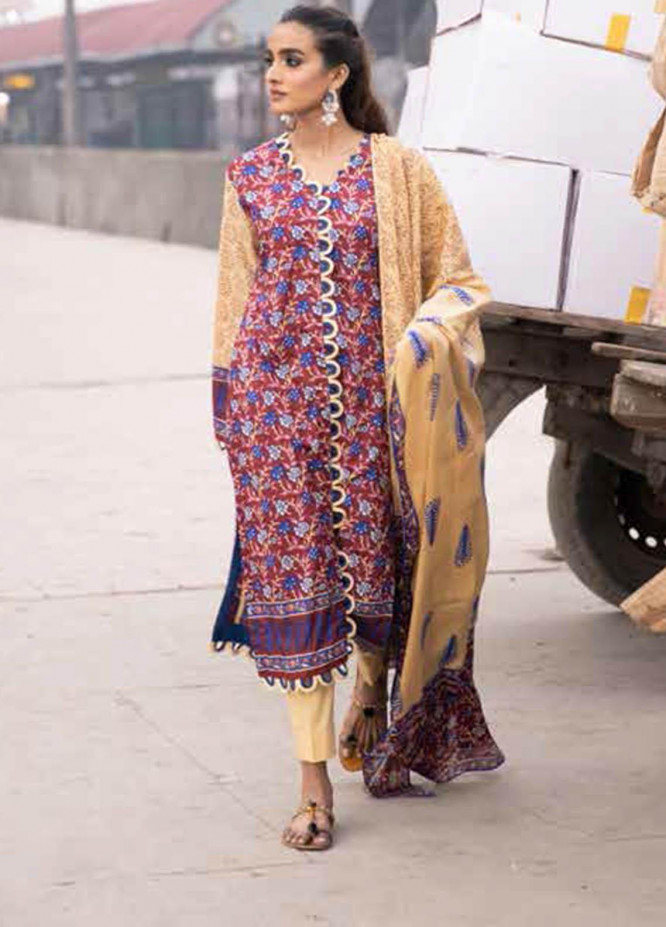 Gul Ahmed Printed Lawn Suits Unstitched 2 Piece GA21VG TL 320-B - Summer Collection