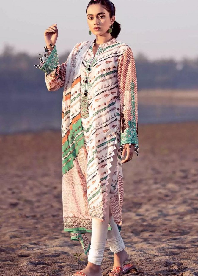 Gul Ahmed Embroidered Lawn Suits Unstitched 2 Piece GA21BL TL302A - Summer Collection