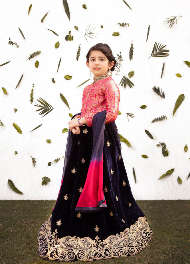 Gulaal Jamawar Embroidered 3 Piece Suit for Girls - Maroon KW-01
