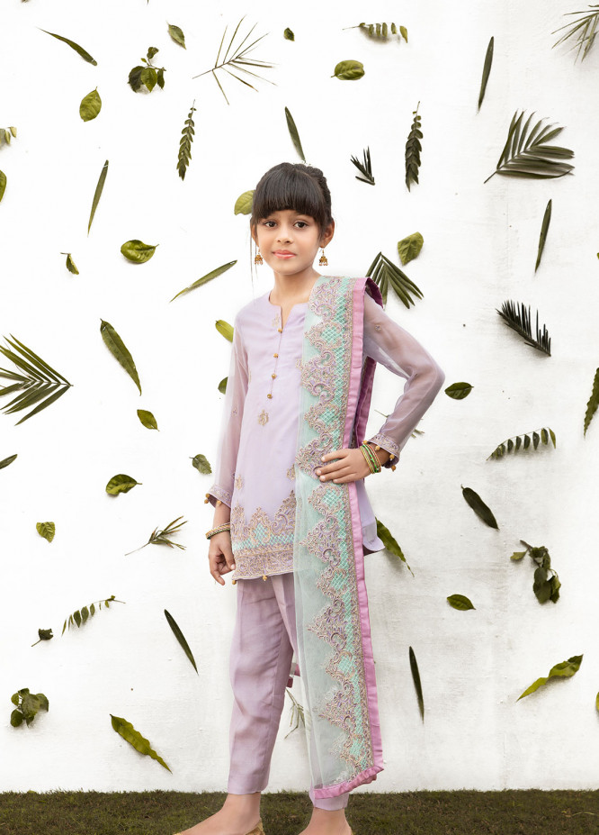 Gulaal Chiffon Embroidered Girls 3 Piece Suit - Purple KW-02