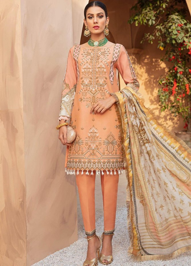 Gulaal Embroidered Lawn Suits Unstitched 3 Piece GL21LL 06 Amber - Luxury Collection