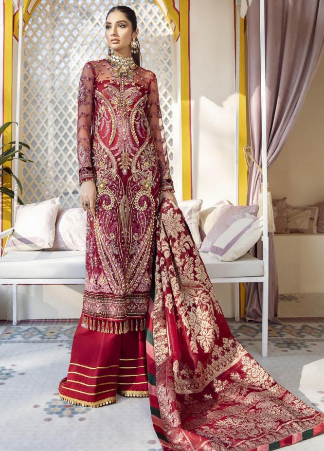 Gulaal Embroidered Net Unstitched 3 Piece Suit GL20WD 06 Zeenat - Wedding Collection