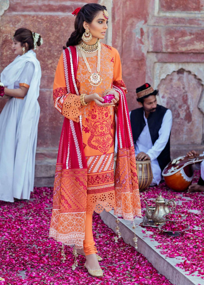 Gulabi Shaam By Nureh Embroidered Lawn Suits Unstitched 3 Piece NU21GS 13 - Eid Collection