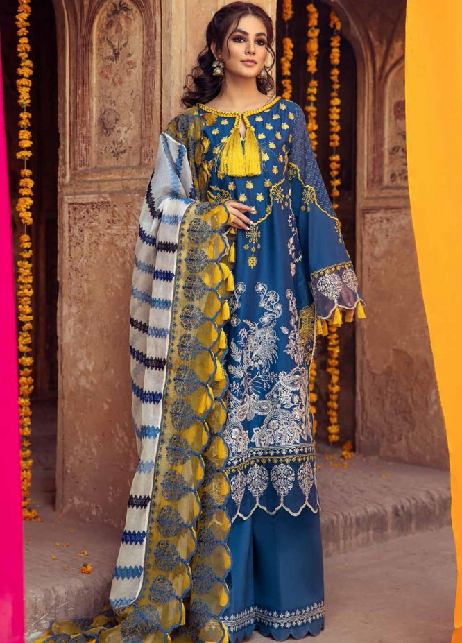Gulzar By Charizma Embroidered Lawn Suits Unstitched 3 Piece CRZ21G 11 Teal Art - Summer Collection