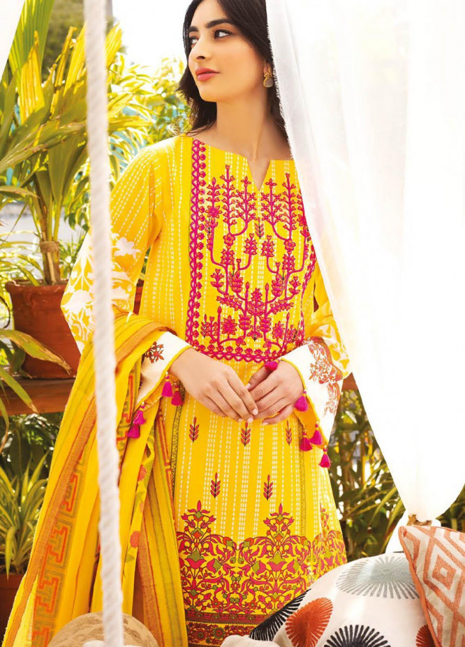 Orient Textile Embroidered Lawn Suits Unstitched 3 Piece OTL-20-141 Yellow - Summer Collection