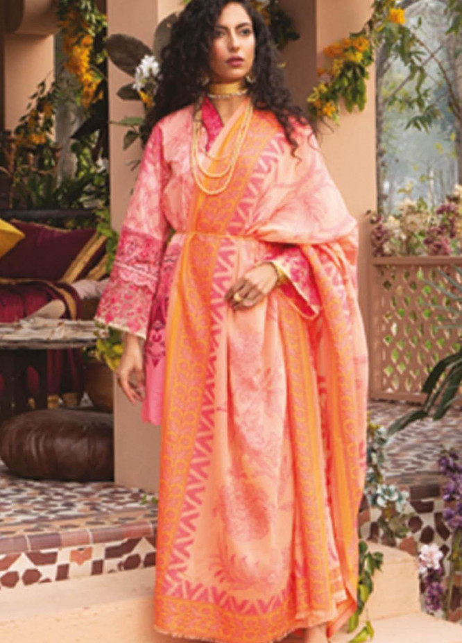 Orient Textile Embroidered Lawn Suits Unstitched 3 Piece OTL-20-142 Peach - Summer Collection