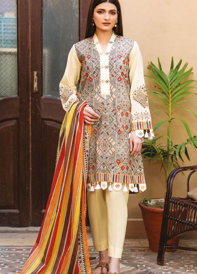 Orient Textile Embroidered Lawn Suits Unstitched 3 Piece OTL-21-001 Orange - Summer Collection