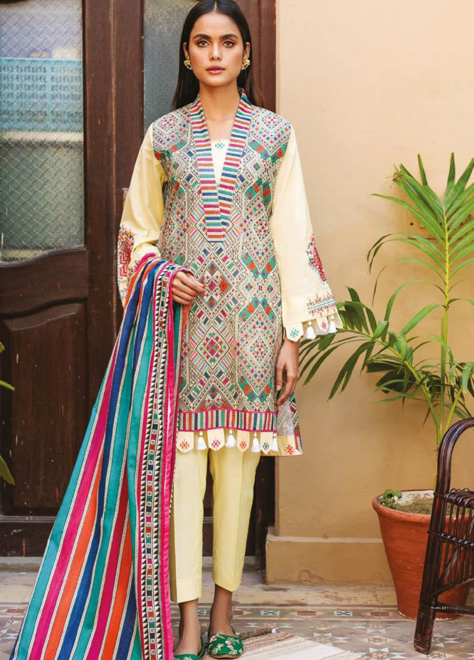 Orient Textile Embroidered Lawn Suits Unstitched 3 Piece OTL-21-001 Pink - Summer Collection