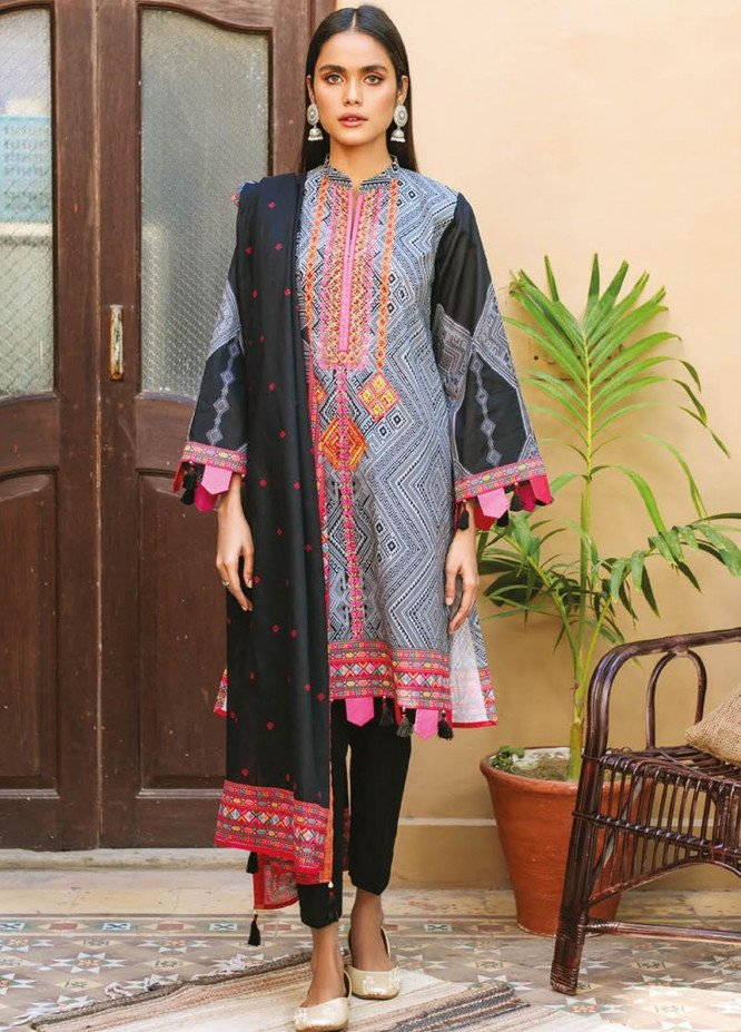 Orient Textile Embroidered Lawn Suits Unstitched 3 Piece OTL-21-002 Black - Summer Collection