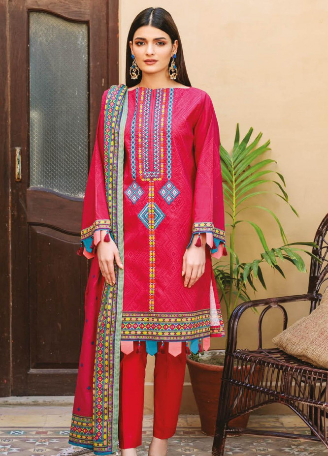 Orient Textile Embroidered Lawn Suits Unstitched 3 Piece OTL-21-002 Red - Summer Collection
