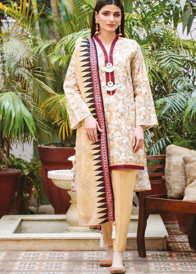 Orient Textile Printed Lawn Suits Unstitched 3 Piece OTL-21-003 Beige - Summer Collection