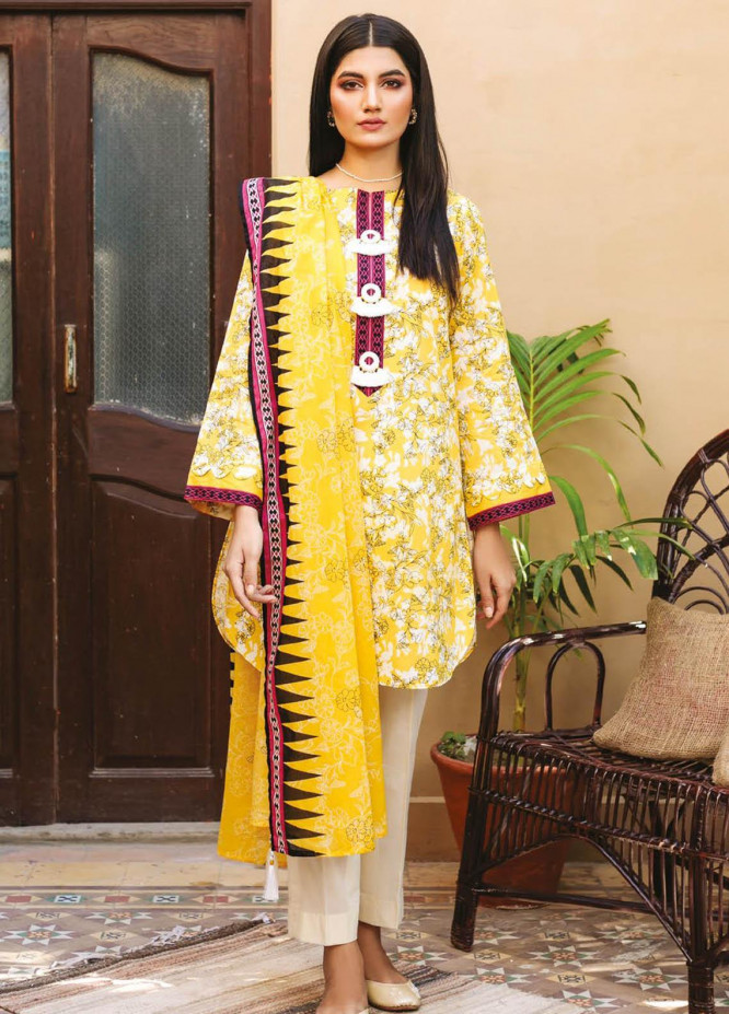 Orient Textile Printed Lawn Suits Unstitched 3 Piece OTL-21-003 Yellow - Summer Collection