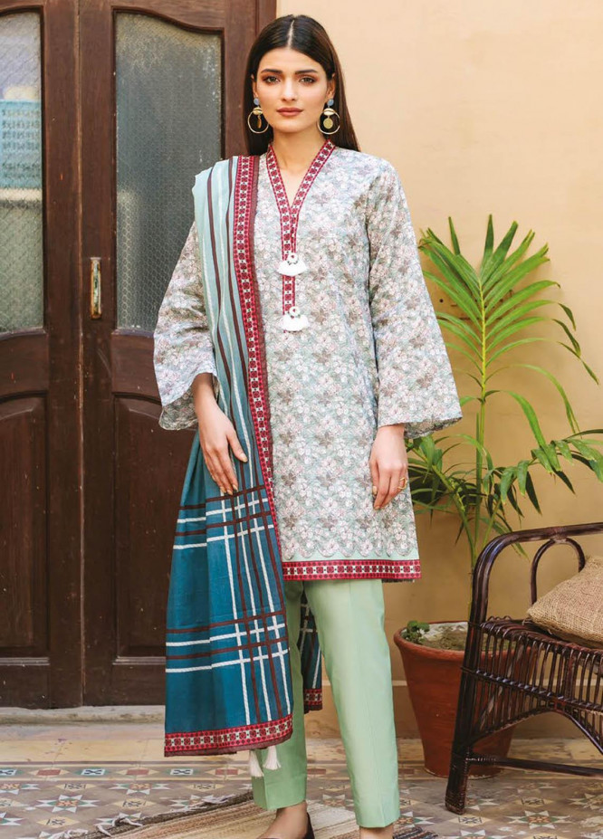 Orient Textile Printed Lawn Suits Unstitched 3 Piece OTL-21-004 Green - Summer Collection