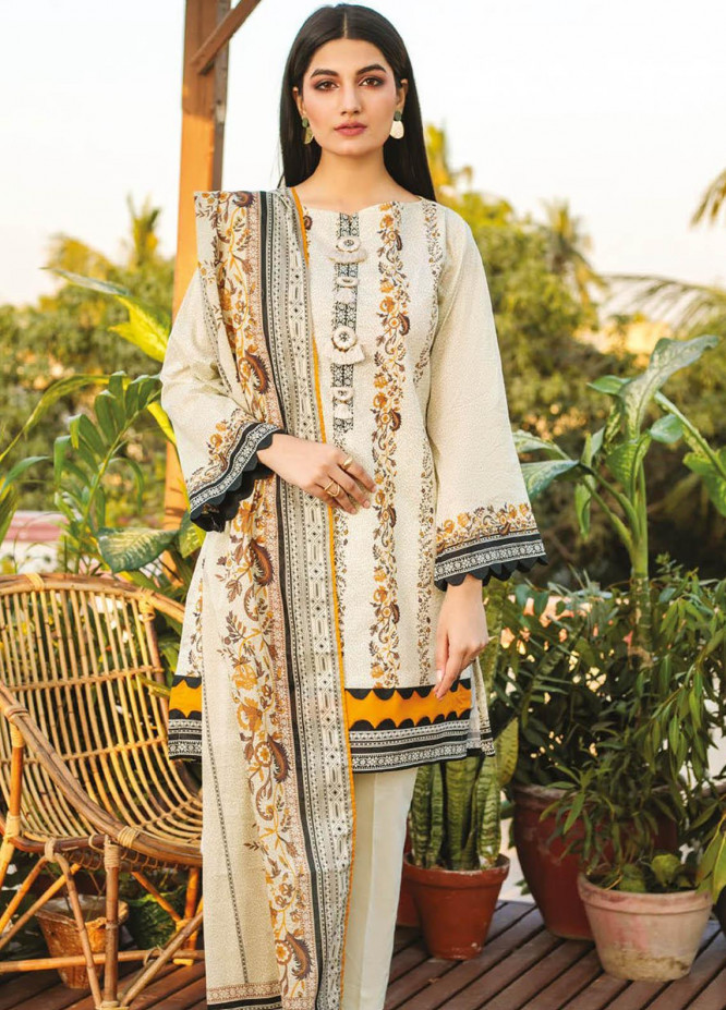 Orient Textile Printed Lawn Suits Unstitched 3 Piece OTL-21-005 Off White - Summer Collection