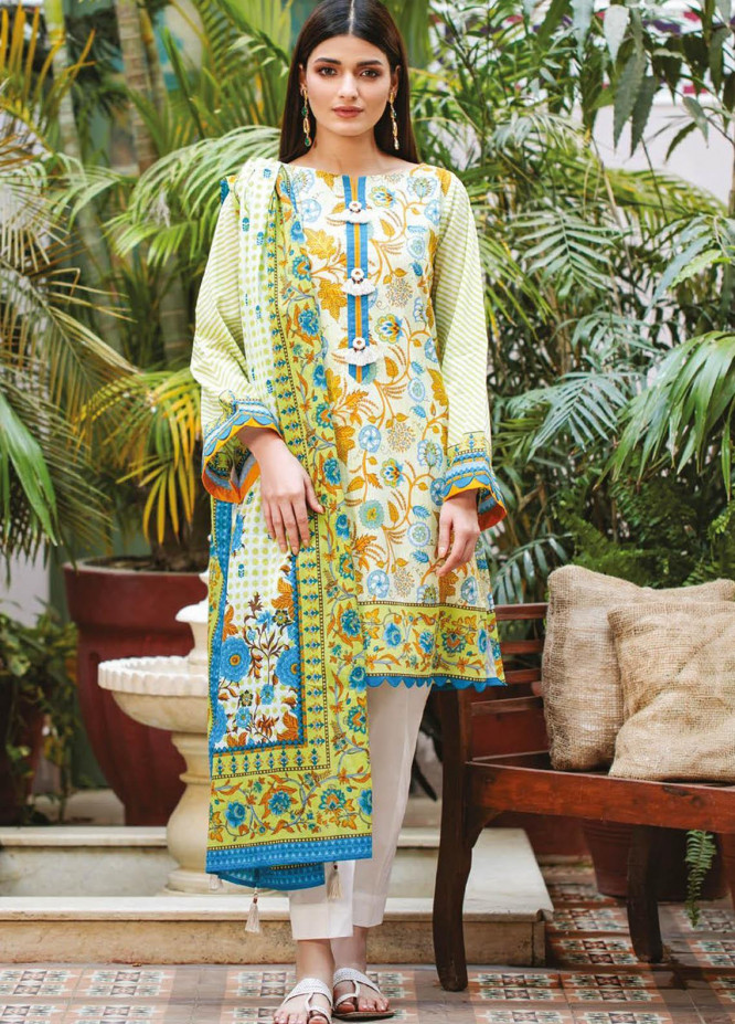 Orient Textile Printed Lawn Suits Unstitched 3 Piece OTL-21-006 Blue - Summer Collection