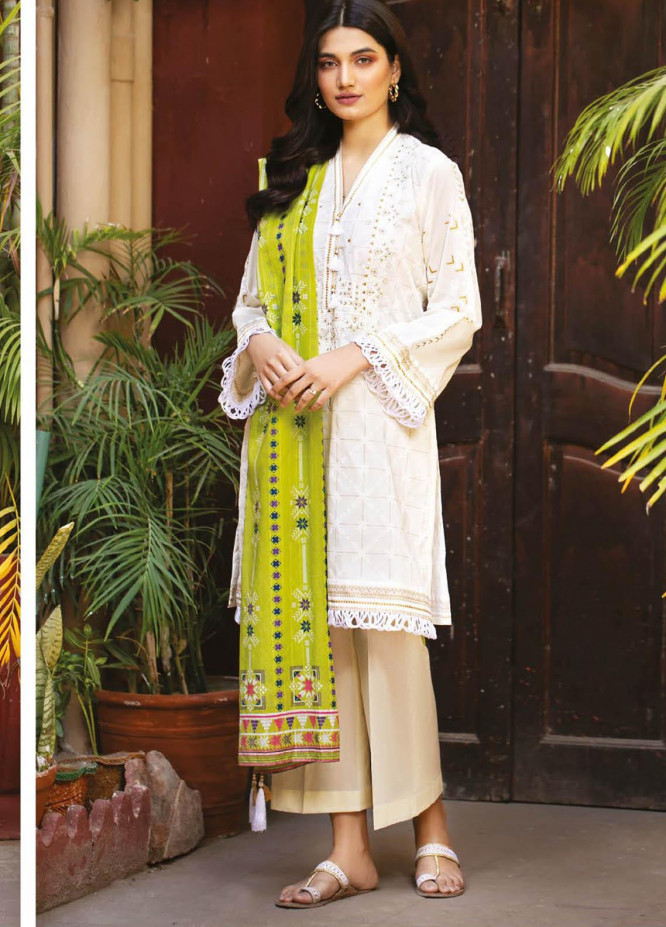 Orient Textile Embroidered Lawn Suits Unstitched 3 Piece OTL-21-007 Green - Summer Collection