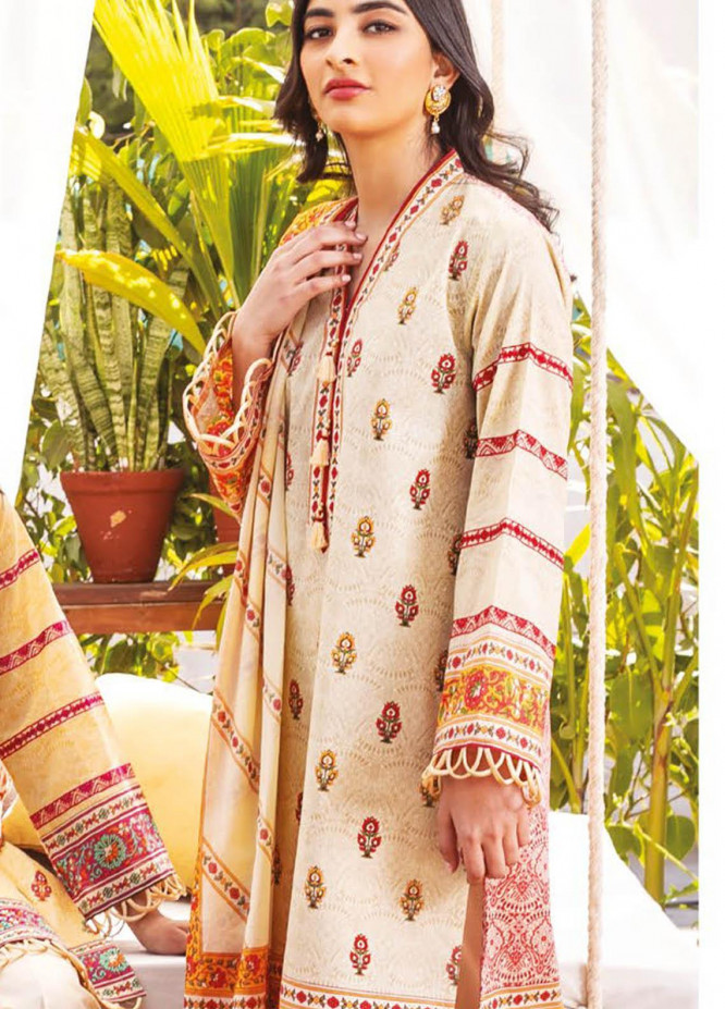 Orient Textile Embroidered Lawn Suits Unstitched 3 Piece OTL-21-010 Maroon - Summer Collection