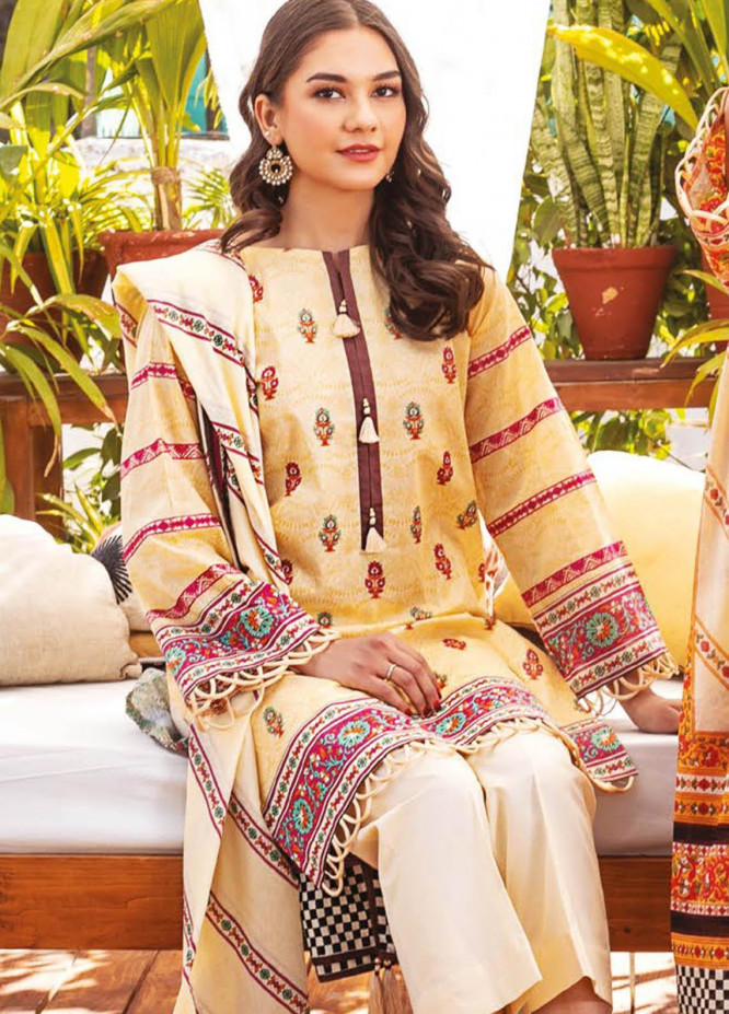 Orient Textile Embroidered Lawn Suits Unstitched 3 Piece OTL-21-010 Pink - Summer Collection