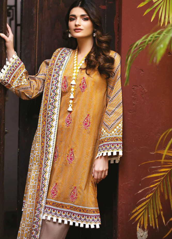 Orient Textile Embroidered Lawn Suits Unstitched 3 Piece OTL-21-011 Brown - Summer Collection