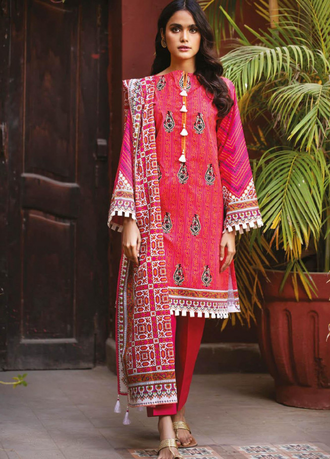 Orient Textile Embroidered Lawn Suits Unstitched 3 Piece OTL-21-011 Pink - Summer Collection