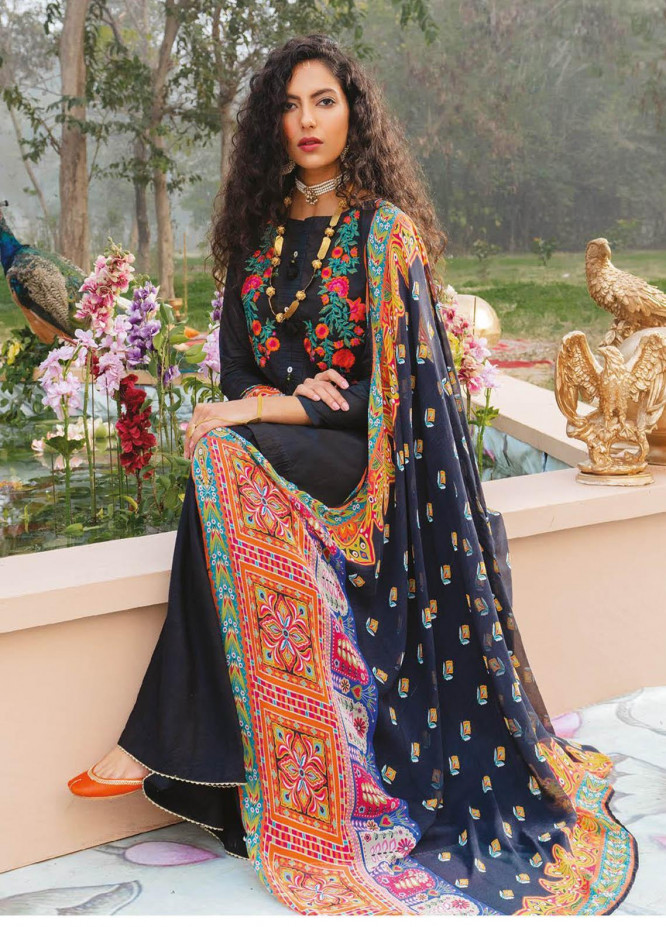 Orient Textile Embroidered Lawn Suits Unstitched 3 Piece OTL-21-012 Black - Summer Collection