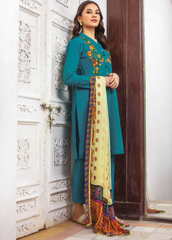 Orient Textile Embroidered Lawn Suits Unstitched 3 Piece OTL-21-012 Blue - Summer Collection