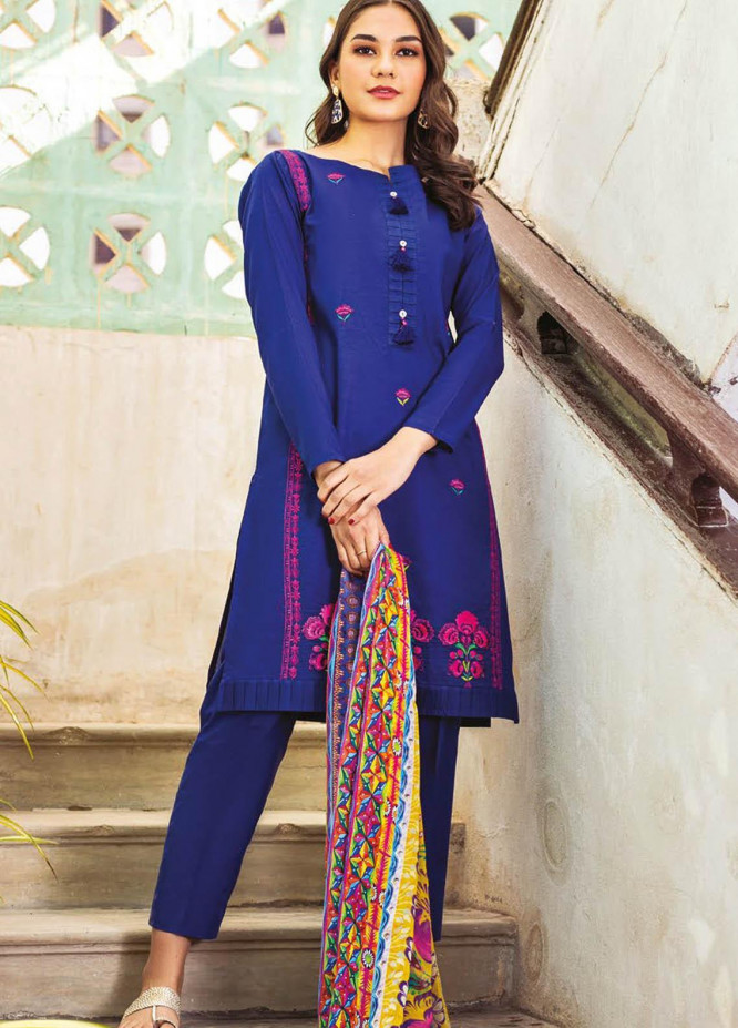 Orient Textile Embroidered Lawn Suits Unstitched 3 Piece OTL-21-013 Blue - Summer Collection