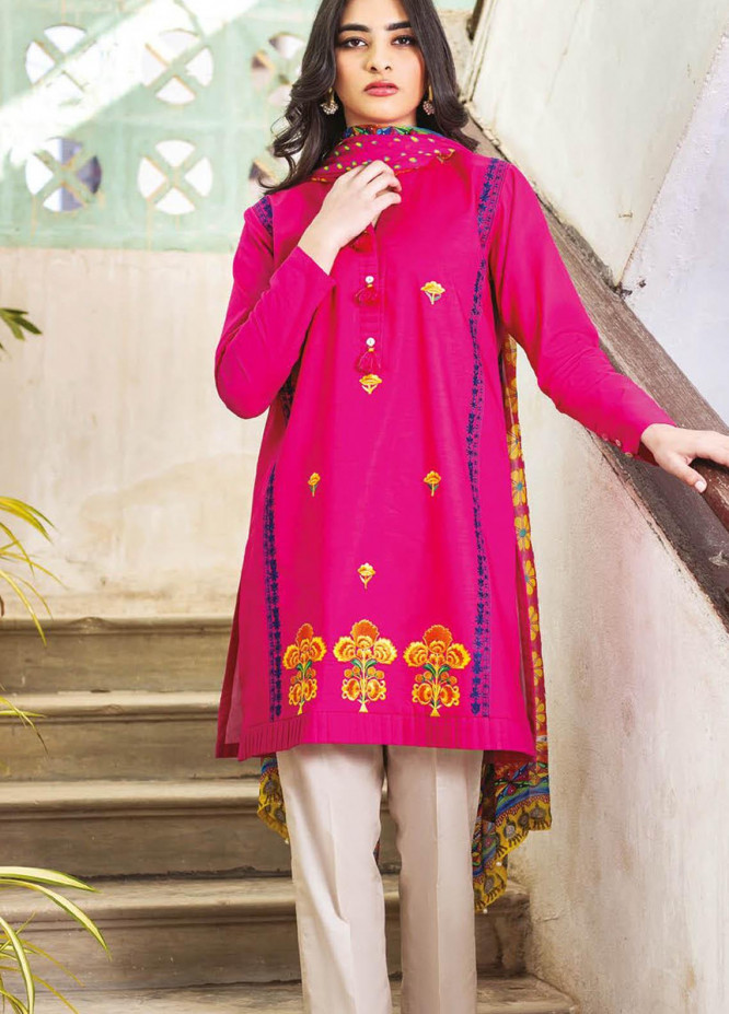 Orient Textile Embroidered Lawn Suits Unstitched 3 Piece OTL-21-013 Pink - Summer Collection