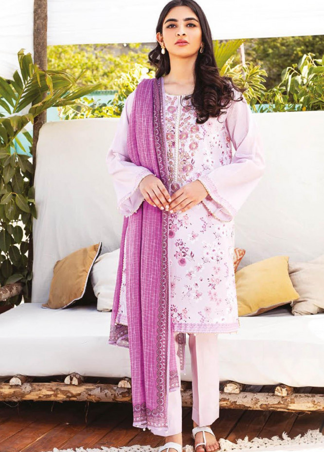 Orient Textile Embroidered Lawn Suits Unstitched 3 Piece OTL-21-014 Purple - Summer Collection