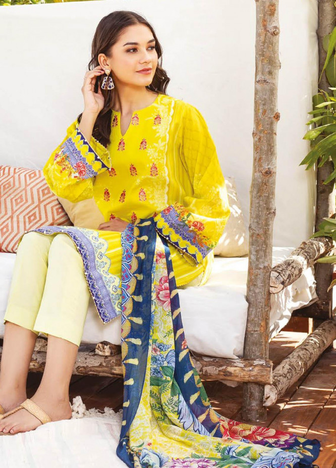 Orient Textile Embroidered Lawn Suits Unstitched 3 Piece OTL-21-015 Yellow - Summer Collection