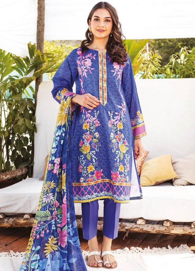 Orient Textile Embroidered Lawn Suits Unstitched 3 Piece OTL-21-016 Blue - Summer Collection