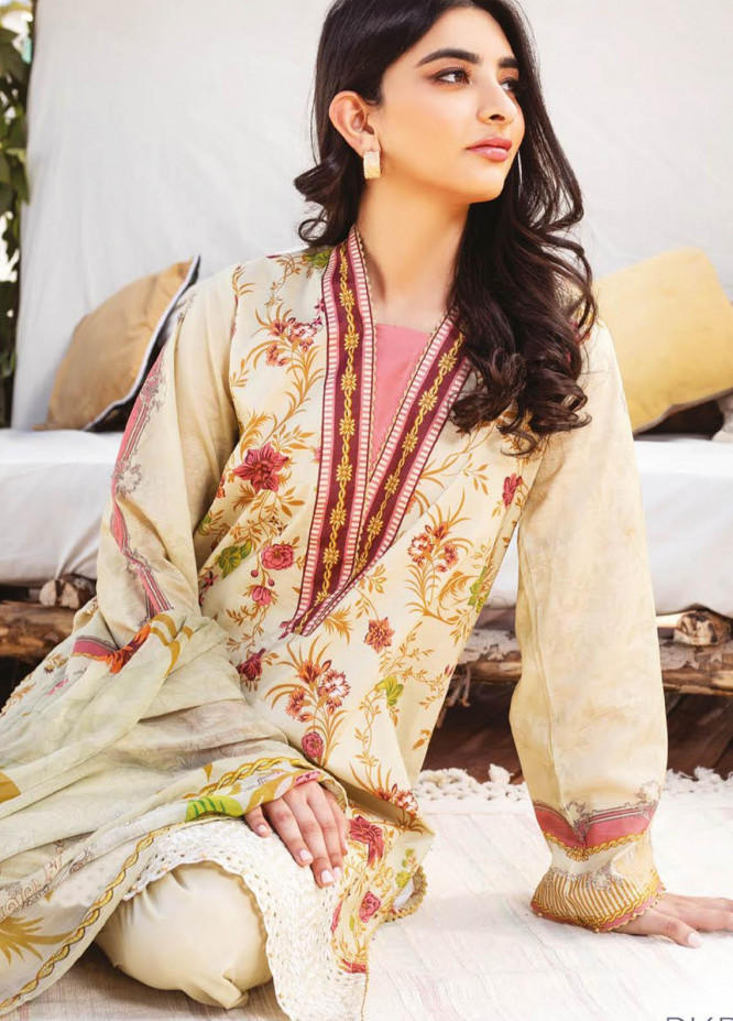 Orient Textile Embroidered Lawn Suits Unstitched 3 Piece OTL-21-017 Beige - Summer Collection