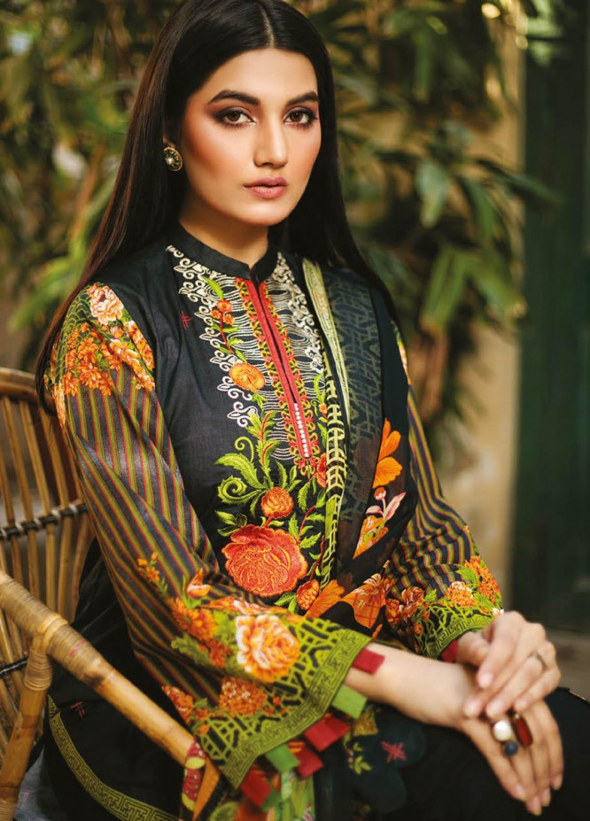 Orient Textile Embroidered Lawn Suits Unstitched 3 Piece OTL-21-020 Black - Summer Collection