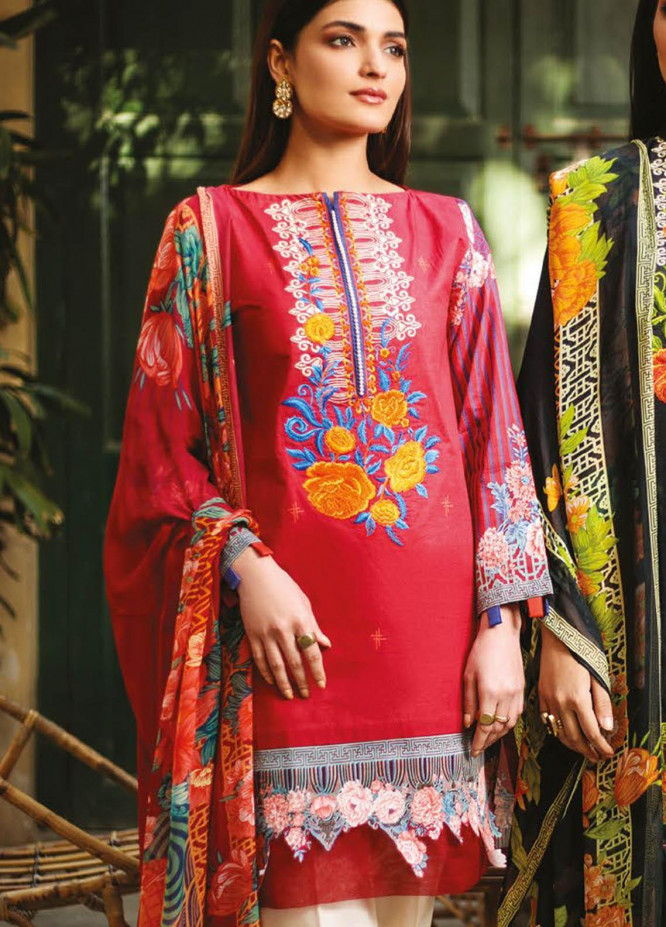 Orient Textile Embroidered Lawn Suits Unstitched 3 Piece OTL-21-020 Red - Summer Collection