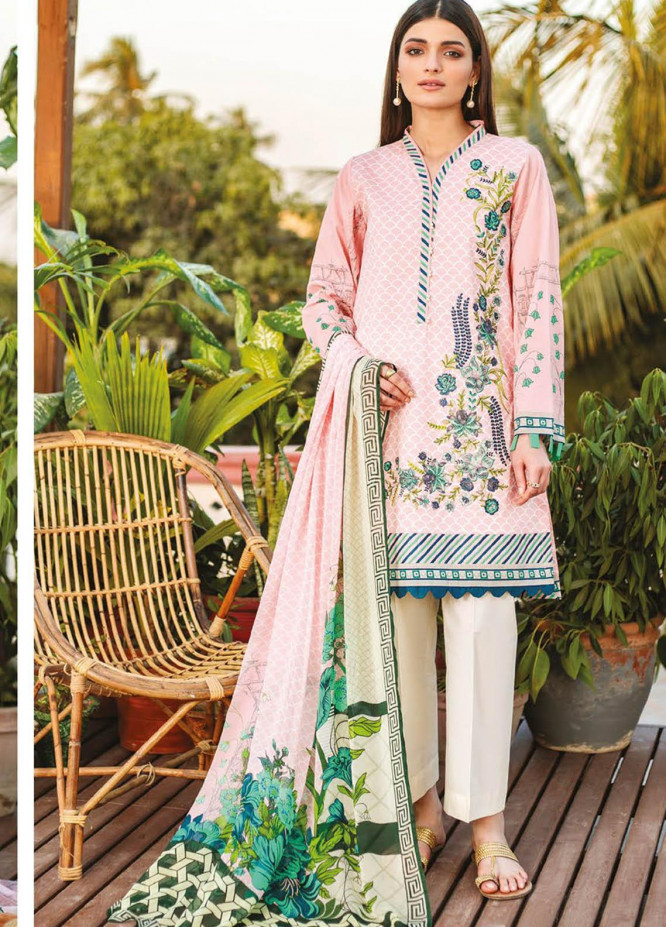 Orient Textile Embroidered Lawn Suits Unstitched 3 Piece OTL-21-021 Pink - Summer Collection