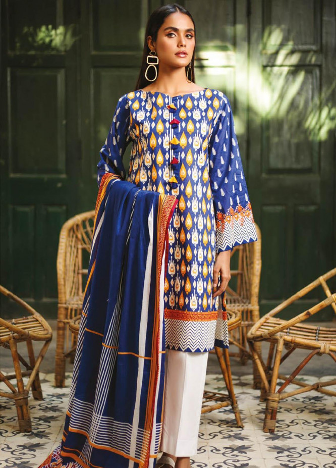 Orient Textile Printed Lawn Suits Unstitched 2 Piece OTL-21-022 Blue - Summer Collection