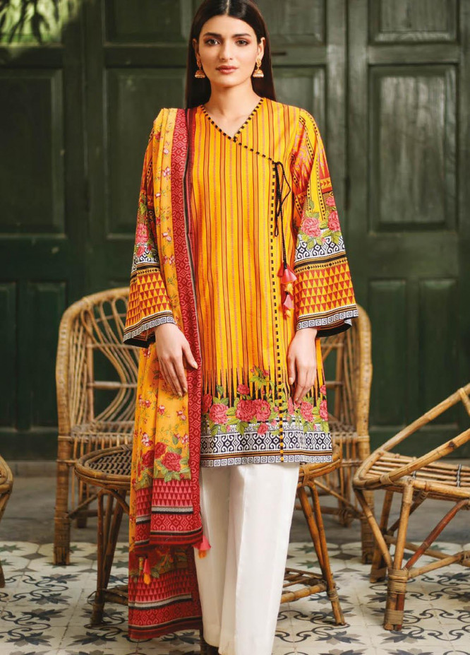 Orient Textile Printed Lawn Suits Unstitched 2 Piece OTL-21-024 Yellow - Summer Collection