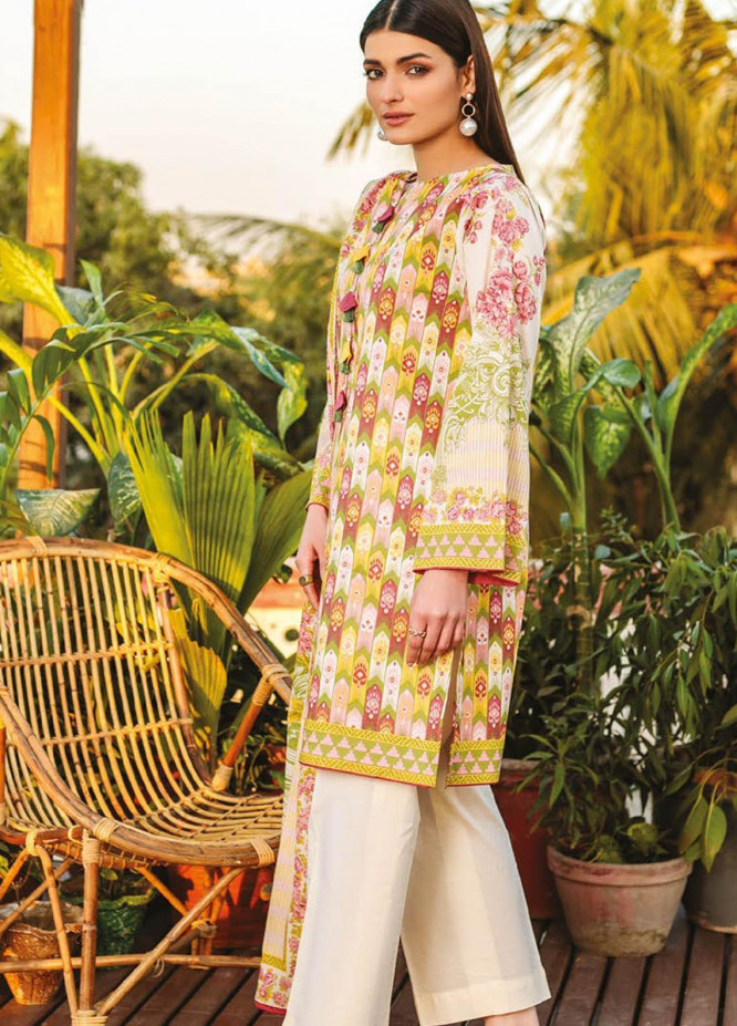 Orient Textile Printed Lawn Suits Unstitched 2 Piece OTL-21-025 Beige - Summer Collection