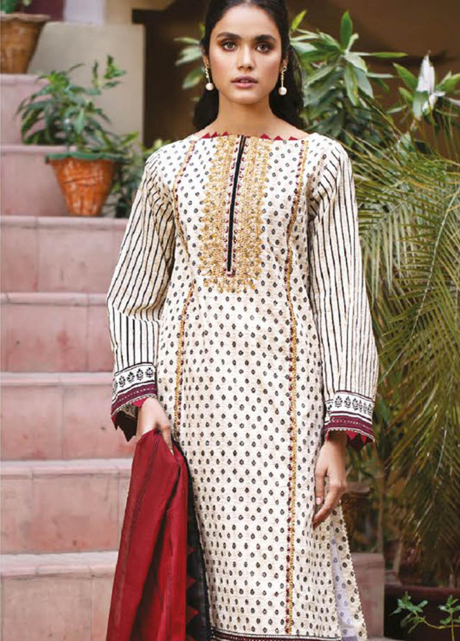 Orient Textile Embroidered Lawn Suits Unstitched 2 Piece OTL-21-026 Maroon - Summer Collection