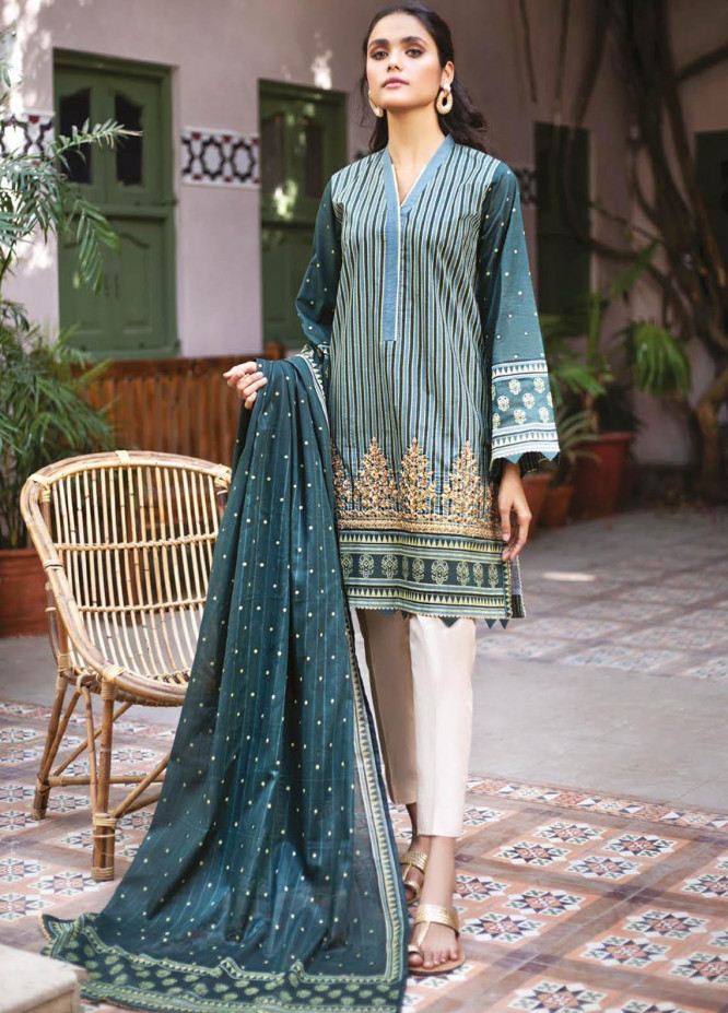 Orient Textile Embroidered Lawn Suits Unstitched 2 Piece OTL-21-027 Green - Summer Collection