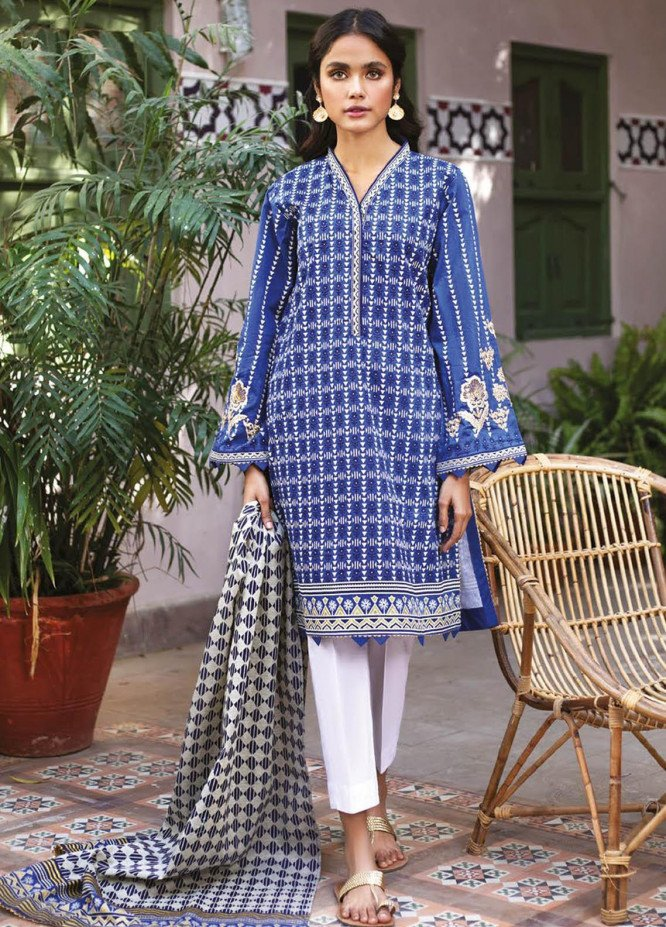 Orient Textile Embroidered Lawn Suits Unstitched 2 Piece OTL-21-028 Blue - Summer Collection