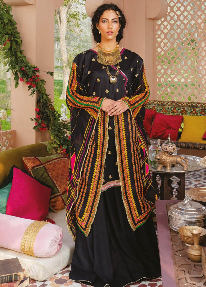 Orient Textile Printed Lawn Suits Unstitched 2 Piece OTL-21-030 Black - Summer Collection